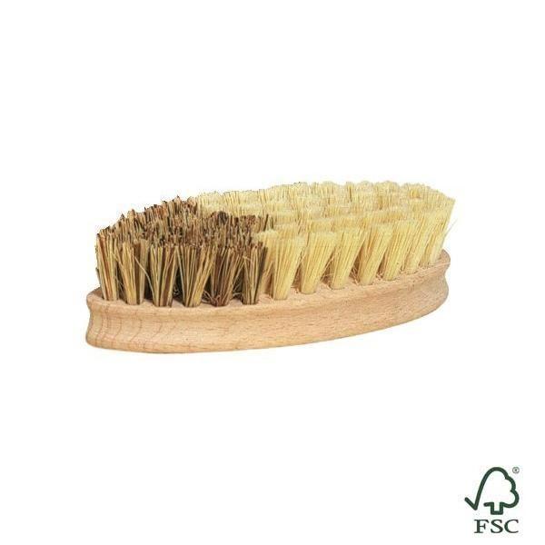 Este cepillo de verduras elimina los residuos más resistentes como por ejemplo la tierra de las patatas. La fibra más fina (sisal) es ideal para la limpieza de otras verduras dejándolas brillantes y suaves al tacto.