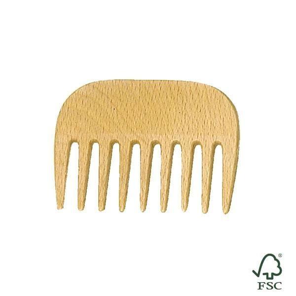 El peine de madera de haya está diseñado para desenredar el cabello respetando los rizos.