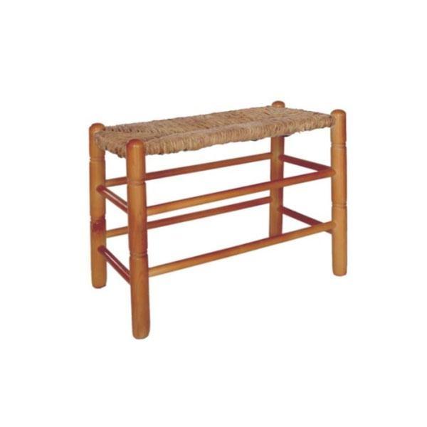 El banco largo asiento de enea es posible adquirirlo en crudo, con la madera sin tratar o barnizada en diferentes tonos.