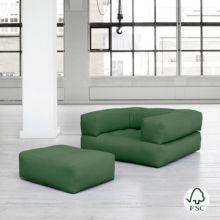 El sillón cama Cube verde botella
