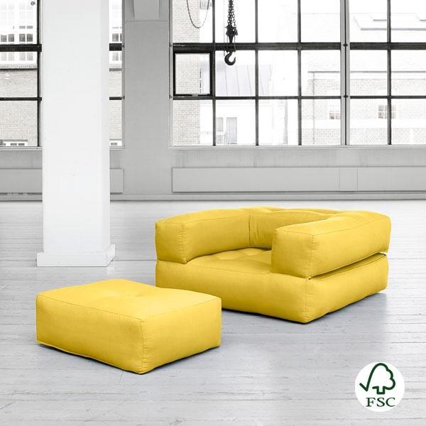 El sillón cama Cube amarillo