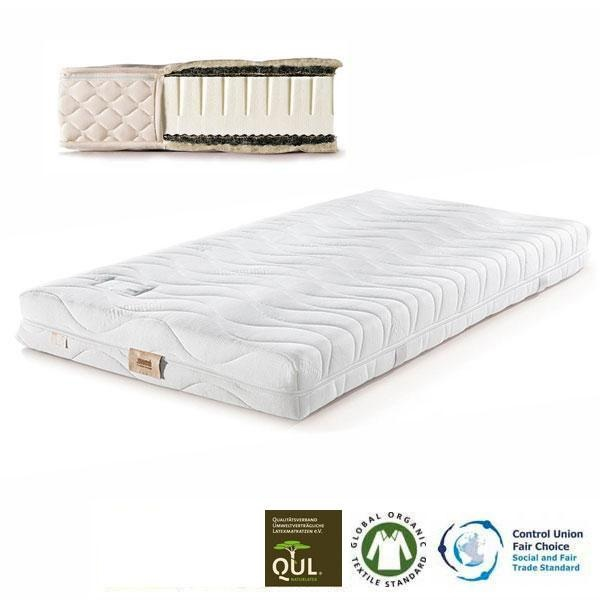 En el colchón de látex natural Basic 3 es posible elegir la densidad del látex entre Media (indicado para personas de peso normal) o Firme (indicado para personas de peso superior a la media).