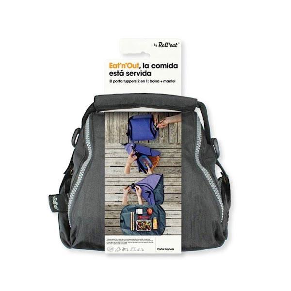El porta tuppers gris Eat'n'Out es un porta tuppers para llevar tu comida. Conserva la temperatura, es flexible, plegable, tiene asas y un bolsillo interior. Y, al abrir completamente su cremallera, se convierte en un mantel.