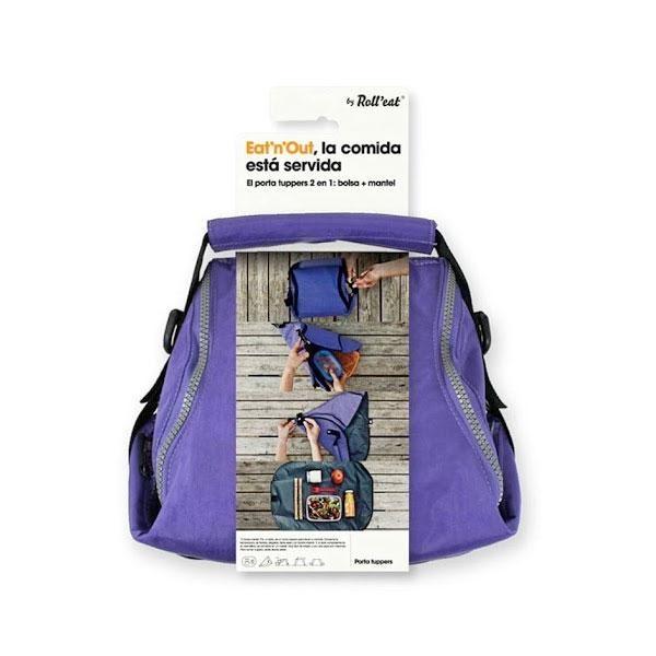 La bolsa porta tuppers Eat'n'out lila: Conserva la temperatura, es flexible, plegable, tiene asas y un bolsillo interior.