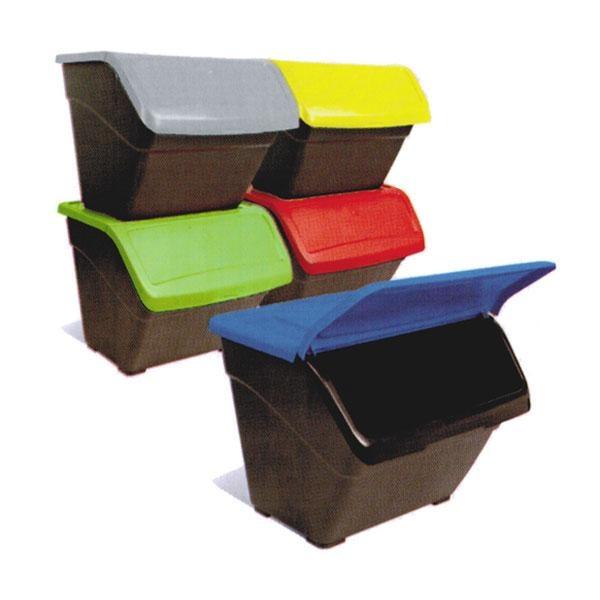 Lote de 3 contenedores de reciclaje con tapa frontal abatible fabricados en en polipropileno 100% reciclable.
