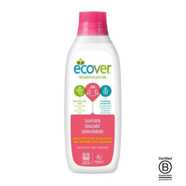 El suavizante ecológico Entre las Flores de Ecover se ha elaborado utilizando únicamente elementos vegetales, compuestos todos ellos biodegradables e inocuos para el medio ambiente.