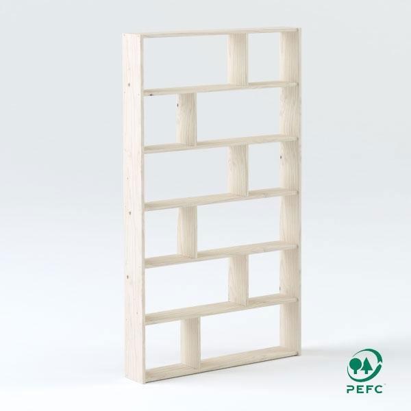 La estantería asimétrica está disponible con 3, 4, 5, 6 o 7 baldas.
