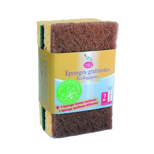 Estropajo de celulosa vegetal fabricado enteramente con materiales naturales y reciclados. La parte más suave de la esponja se ha obtenido a partir de celulosa de origen vegetal.