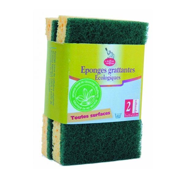 La parte verde abrasiva de la esponja se obtiene de botellas PET recicladas. Apto para todo tipo de superfícies.