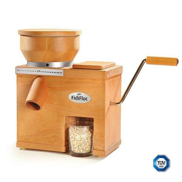 El molino Fidifloc 21 es un molino de 8,7 kg de peso. La tolva del molino de harina puede albergar hasta 0,85 kg de grano y la tolva del molino de copos 0,1 kg. Las piedras para moler son de corindón el motor del molino de harina desarrolla 250W.