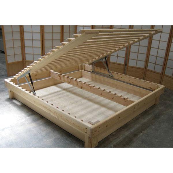 Cama somier madera fustaforma con arc n abatible for Como hacer una cama alta de madera