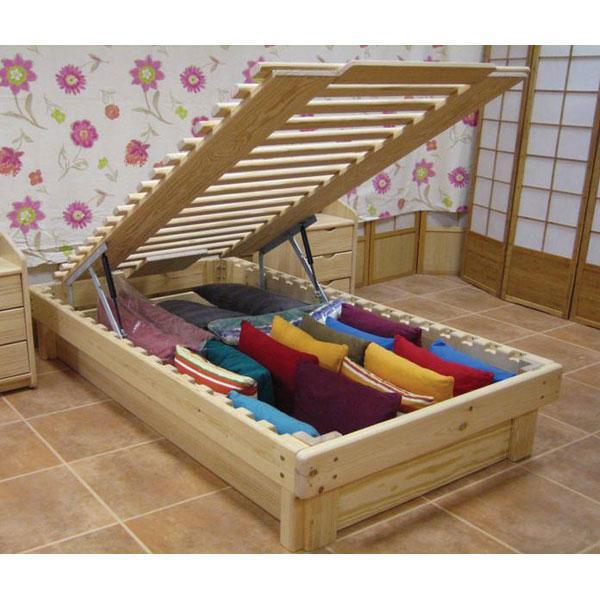 Cama somier madera fustaforma con arc n abatible for Reciclar una cama de madera