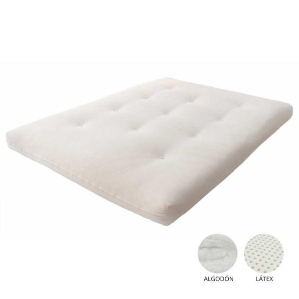 Futón de látex y algodón, disponible en dos combinaciones diferentes, una con 5 cm de látex y 11 de algodón, y una segunda con una capa mayor de látex de 10 cm y 8 de algodón.