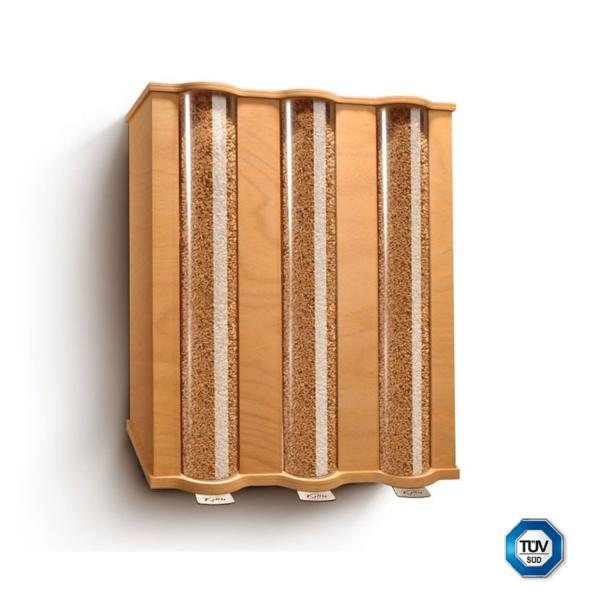 Aunque está ideado para cereales, el granero de Komo también puede usarse con legumbres, pastas, harinas, etc. Se suministra con fijaciones para colgarlo en la pared. Un complemento perfecto para los ekomolineros.