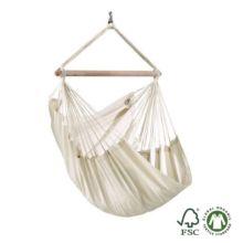 Silla hamaca individual Modesta latte de algodón orgánico. está tejida con algodón orgánico 100% sin tintes ni blanqueantes.
