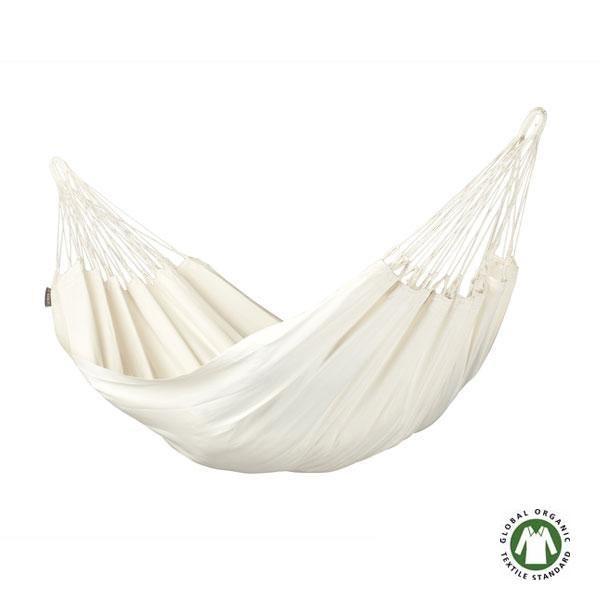 La Hamaca individual Modesta de algodón orgánico: La belleza del color del algodón natural encaja perfectamente en todos los ambientes.