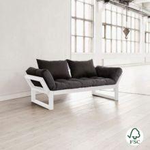 El Diván cama Edge gris oscuro está fabricado con madera de pino macizo escandinavo de tala certificada FSC.