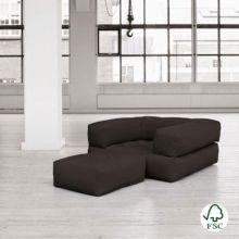 El sillón cama Cube gris oscuro tiene un diseño juvenil y es muy resistente gracias a sus botones de costura.