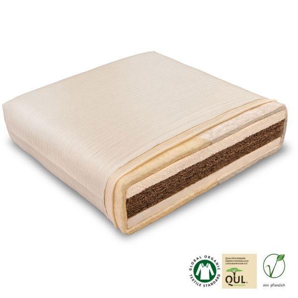 El Coco-Kid es un colchón natural infantil con un núcleo de fibra de coco de 5 cm y está recubierto por dos láminas de látex natural de 2,5 cm cada una.