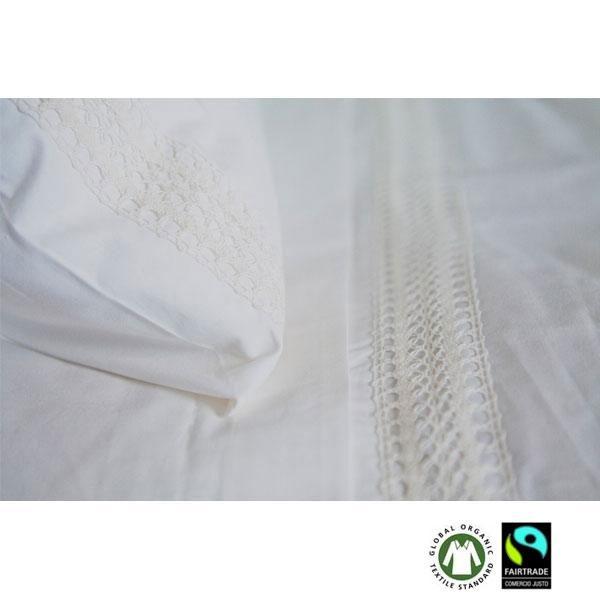 El Juego de cama algodón orgánico Crochet