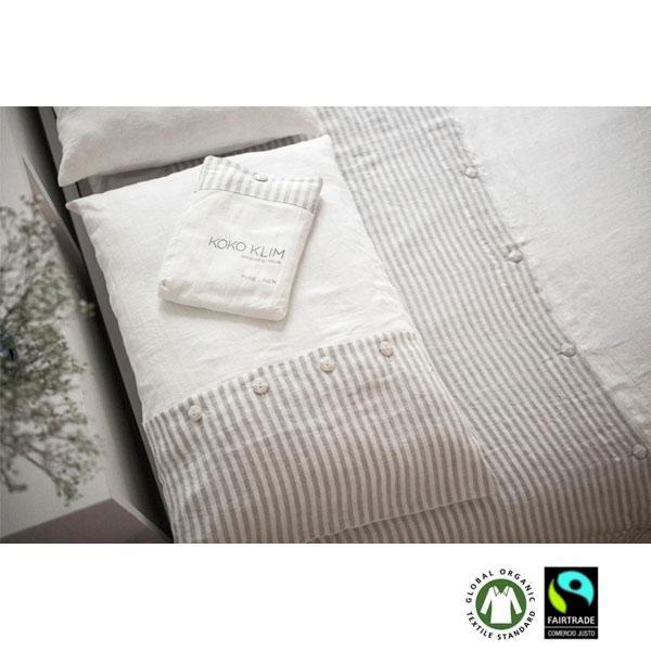 Juego de cama funda nórdica de lino natural Duplo en color blanco roto