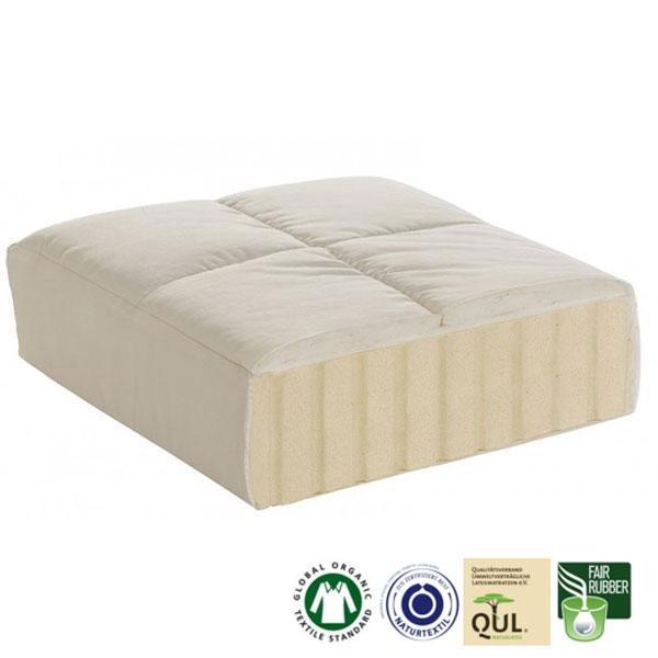 Topper grueso Latoia: La funda acolchada de algodón orgánico es suave y ayuda a regular la temperatura y la humedad durante la noche.