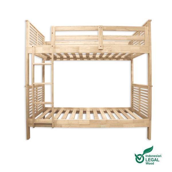La cama litera Basu se presenta en crudo, sin barnices ni tratamientos, resaltando su belleza natural.