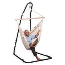 Soporte para silla hamaca Mediterráneo, gracias a su sistema extensible es posible utilizarlo tanto para sillas hamacas individuales dobles.