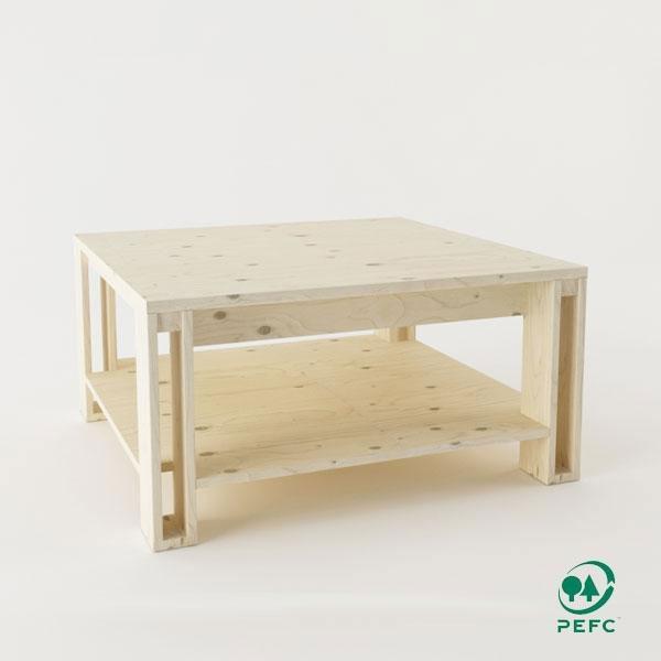 La mesa de centro de madera maciza pulida Arina