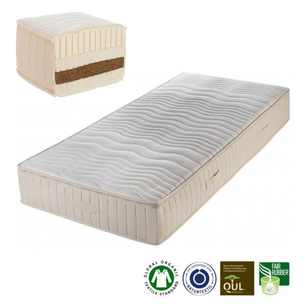 Colchón de látex natural y fibra de coco Madura, un colchón de látex natural y fibra de coco fabricado artesanalmente por Prolana de 23 cm de grosor.