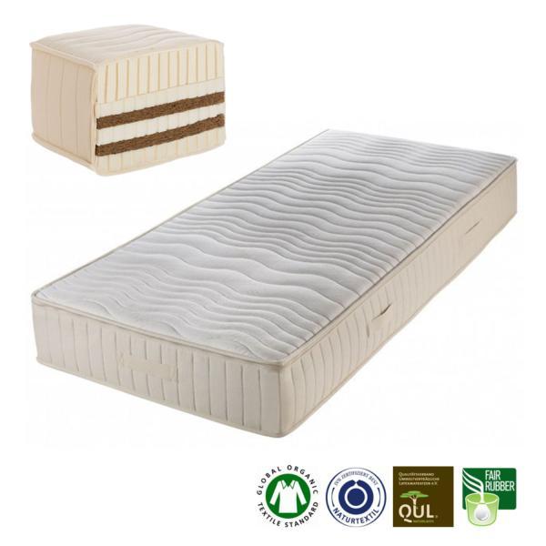 Colchón de látex natural y fibra de coco Mannar, un colchón de látex natural fabricado artesanalmente por Prolana de 23 cm de grosor.