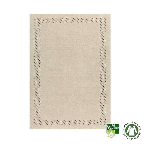 Alfombra de lana ecológica enmarcada beige