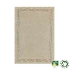 Alfombra de lana ecológica enmarcada gris claro
