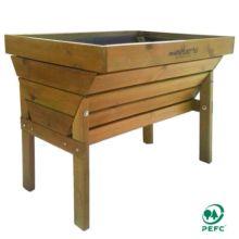 mesa de cultivo multiHuerto, una mesa resistente de madera maciza de pino con certificado PEFC disponible en dos alturas. El interior de la mesa está revestido con una lámina impermeable de geotextil.