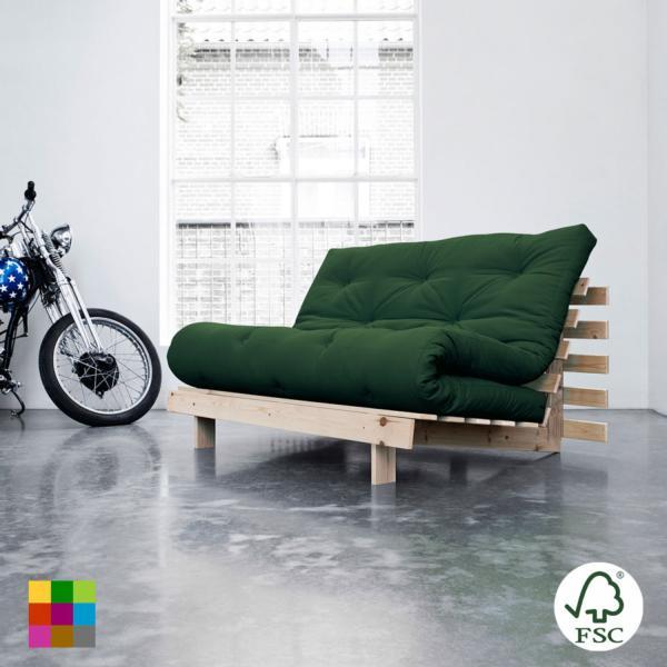 El sofá cama Roots doble encaja en cualquier tipo de ambiente y está fabricado en madera de pino macizo escandinavo (tala certificada FSC) en bruto sin barniz.