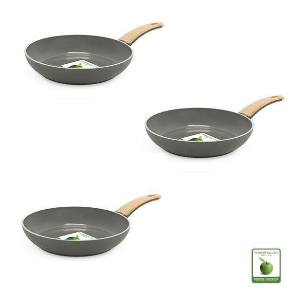 Pack de tres sartenes ecológicas Green Pan Wood Be