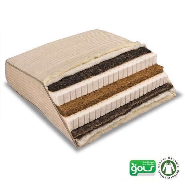 El Piuma Roko es un colchón de látex natural combinado con fibra de coco y crin de caballo fabricado por la marca de descanso natural Baumberger