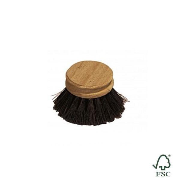 Recambio para el cepillo de fregar platos suave hecho de madera de haya sin tratar con las cerdas de crin negro de caballo.