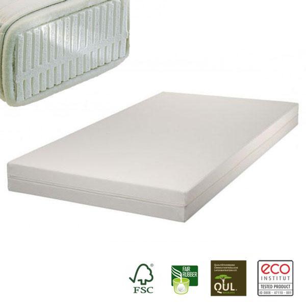 El colchón para alérgicos de látex natural Samar Comfort incluye funda desenfundable de algodón orgánico en acabado Drill.