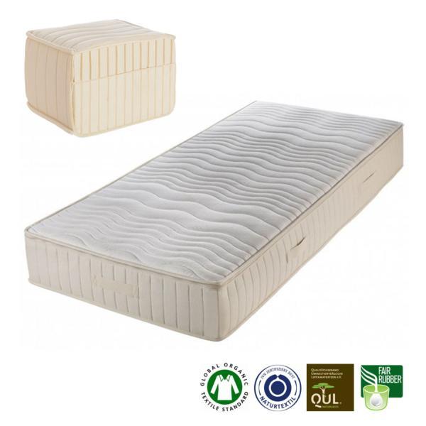 Colchón de látex natural Sanya, compuesto por 15 cm de látex natural con 5 zonas diferenciadas, una muy cómoda a la altura de los hombros.