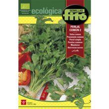 Semillas ecológicasPerejil común: Planta de tallos erectos de porte vigoroso, hojas de color verde, anchas de bordes dentados y de superficie lisa.