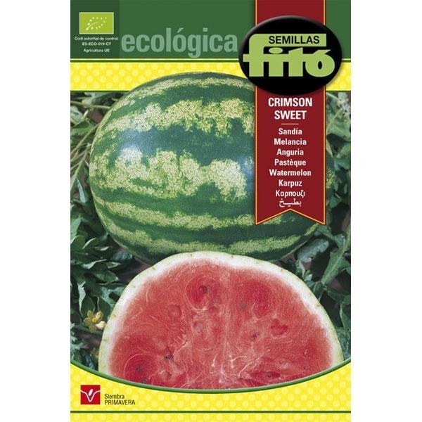 Semillas ecológicas de Sandia Crimson Sweet. Fruta de carne crujiente, dulce y de color rojo, de gran tamaño, hasta 6-9 kg de peso y de forma oval.