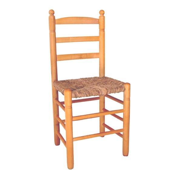 Silla asiento de enea bola alta disponible en varios acabados: con la madera en crudo, sin tratar, o bien barnizada, con barniz transparente, barniz color miel o en tono oscuro color nogal.