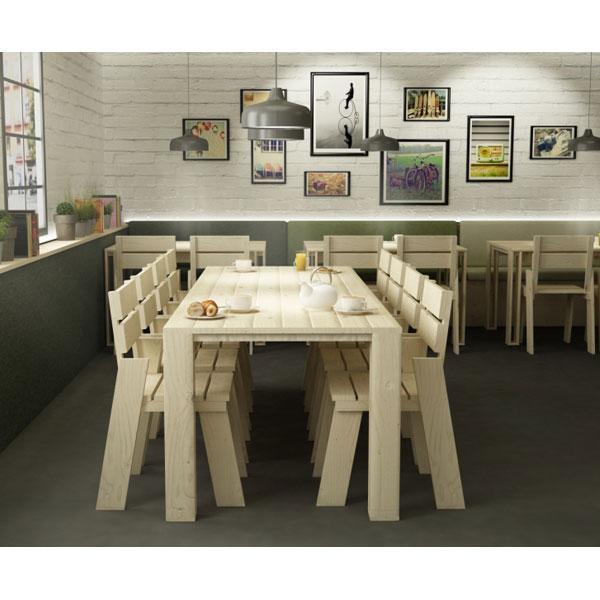 La silla de madera maciza pulida Landa mueble ecológico y reciclable