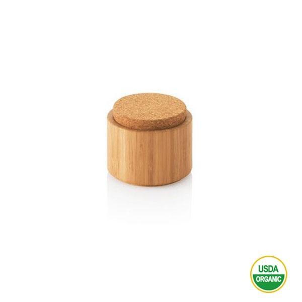 Este tarro de bambú con tapón de corcho es un producto sostenible hecho a mano en China bajo criterios éticos de Comercio Justo