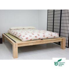 La madera de la cama japonesa Tokio es de hevea, tratada de forma natural