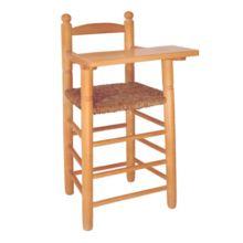 Trona de madera natural con bandeja y asiento de enea