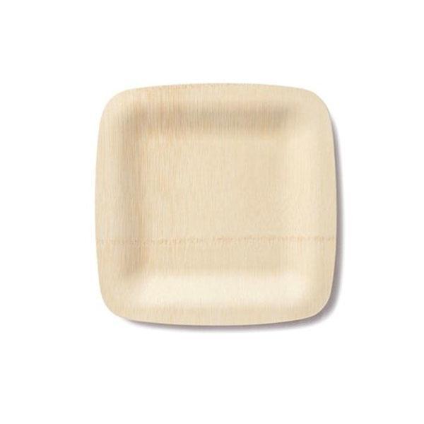 Vajilla bamb platos cuadrados y cubiertos biodegradables - Vajilla bambu ...