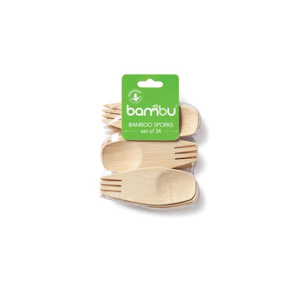 Cubiertos peque os de bamb biodegradables - Vajilla bambu ...