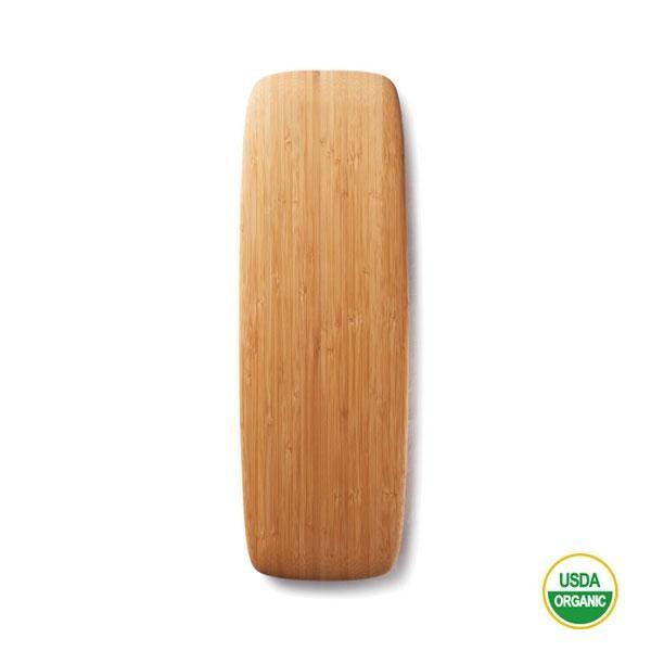 La tabla bandeja para cortar de bambú es sostenible y bonita